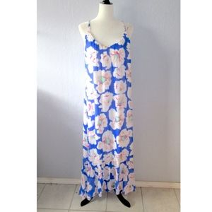 Tori Richard Blue Floral Maxi Dress Cross Back